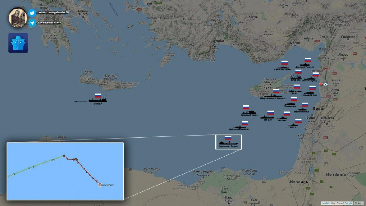 At Least 15 Russian Warships Spotted In Eastern Mediterranean