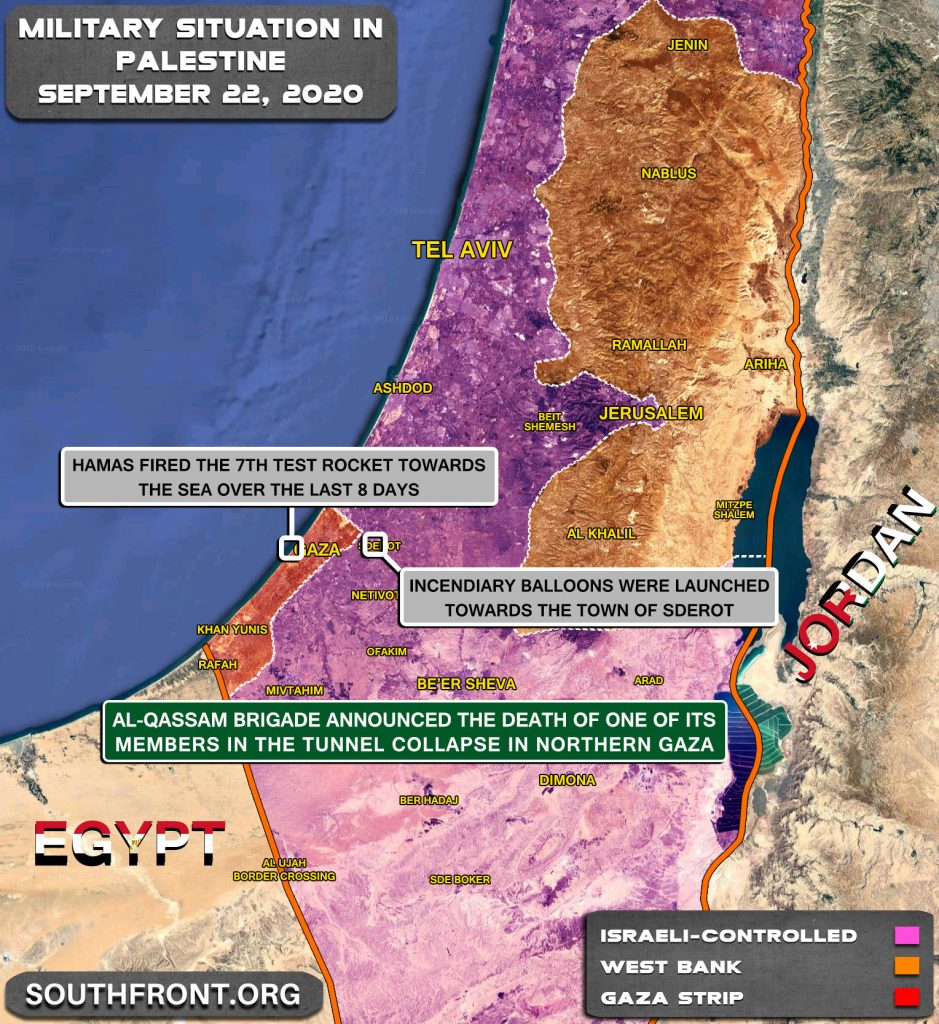 Military Situation In Palestine On September 22, 2020 (Map Update)