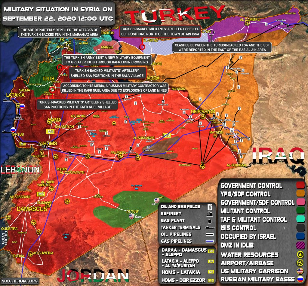 Military Situation In Syria On September 22, 2020 (Map Update)