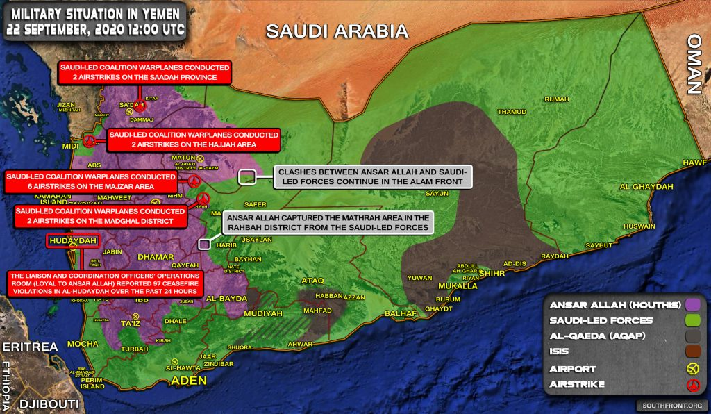 Military Situation In Yemen On September 22, 2020 (Map Update)