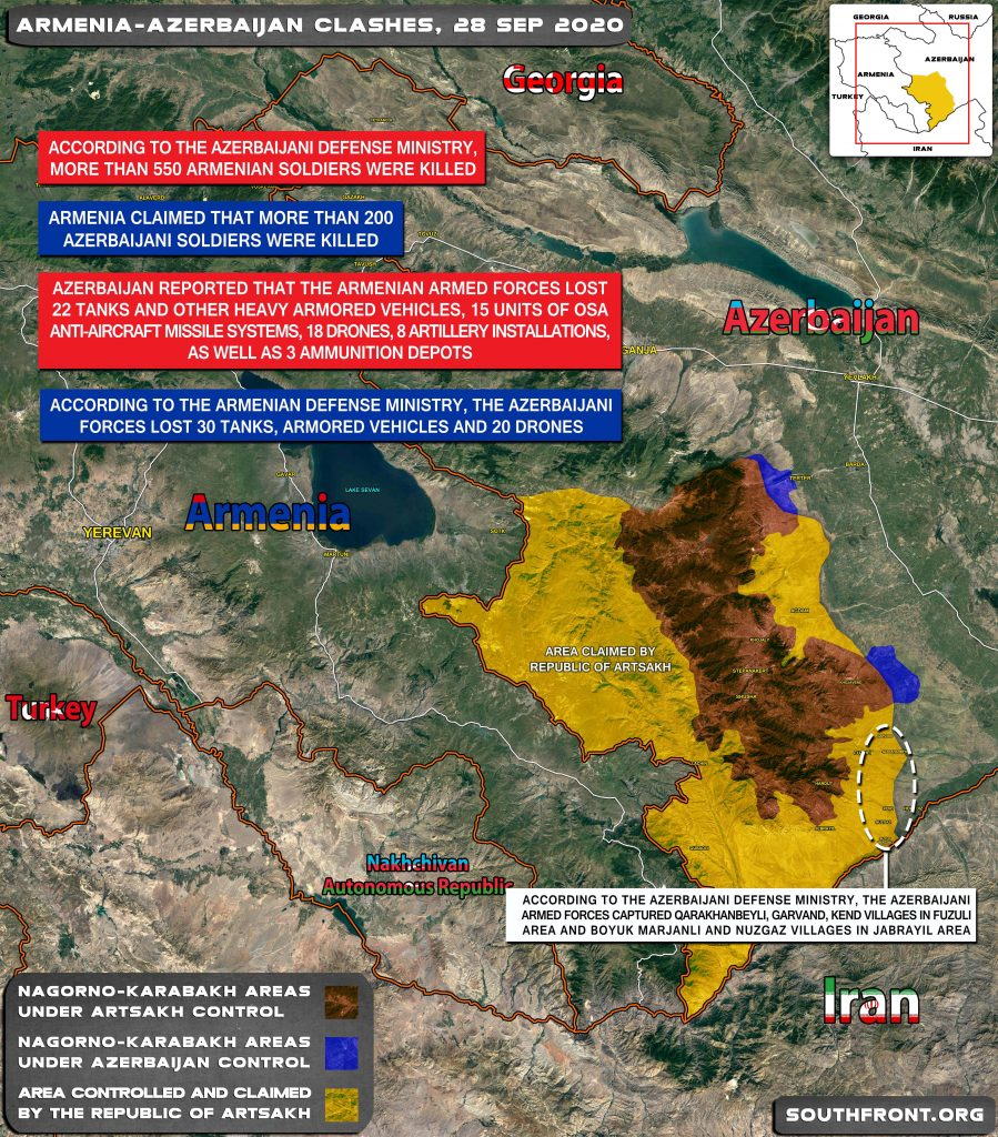 Military Situation In Nagorno-Karabakh On September 28, 2020 (Map Update)