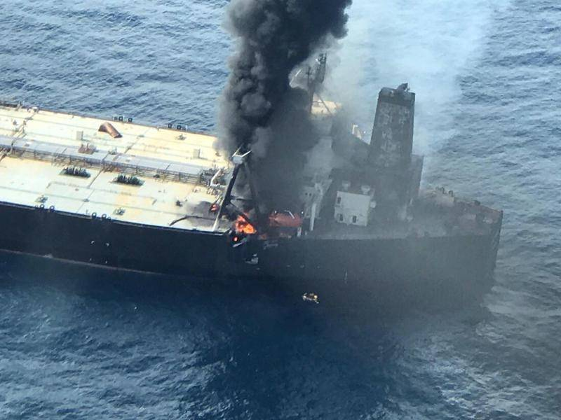 Indian-Chartered Oil Tanker Catches Fire Off The Coast Of Sri Lanka