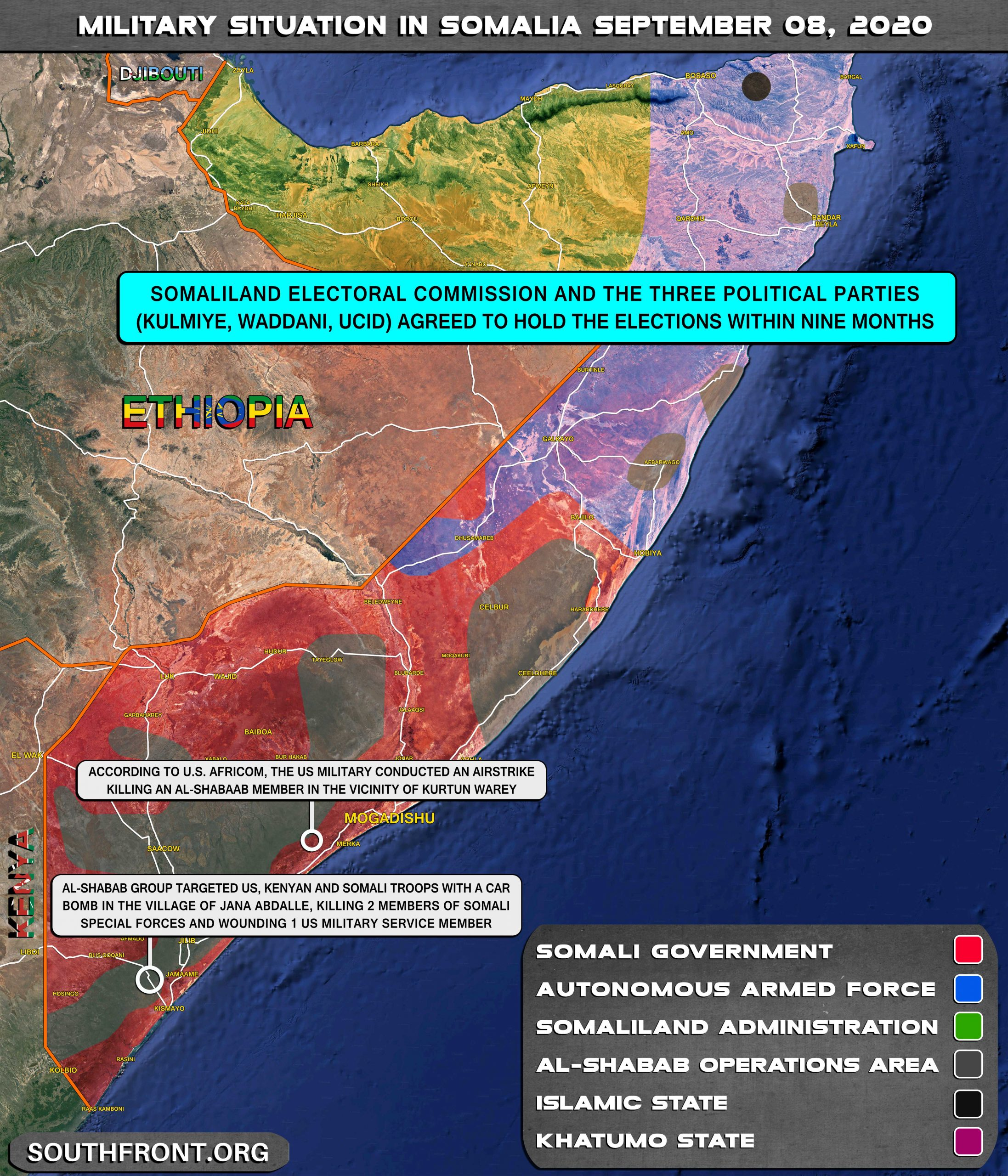 Military Situation In Somalia On September 8, 2020 (Map Update)