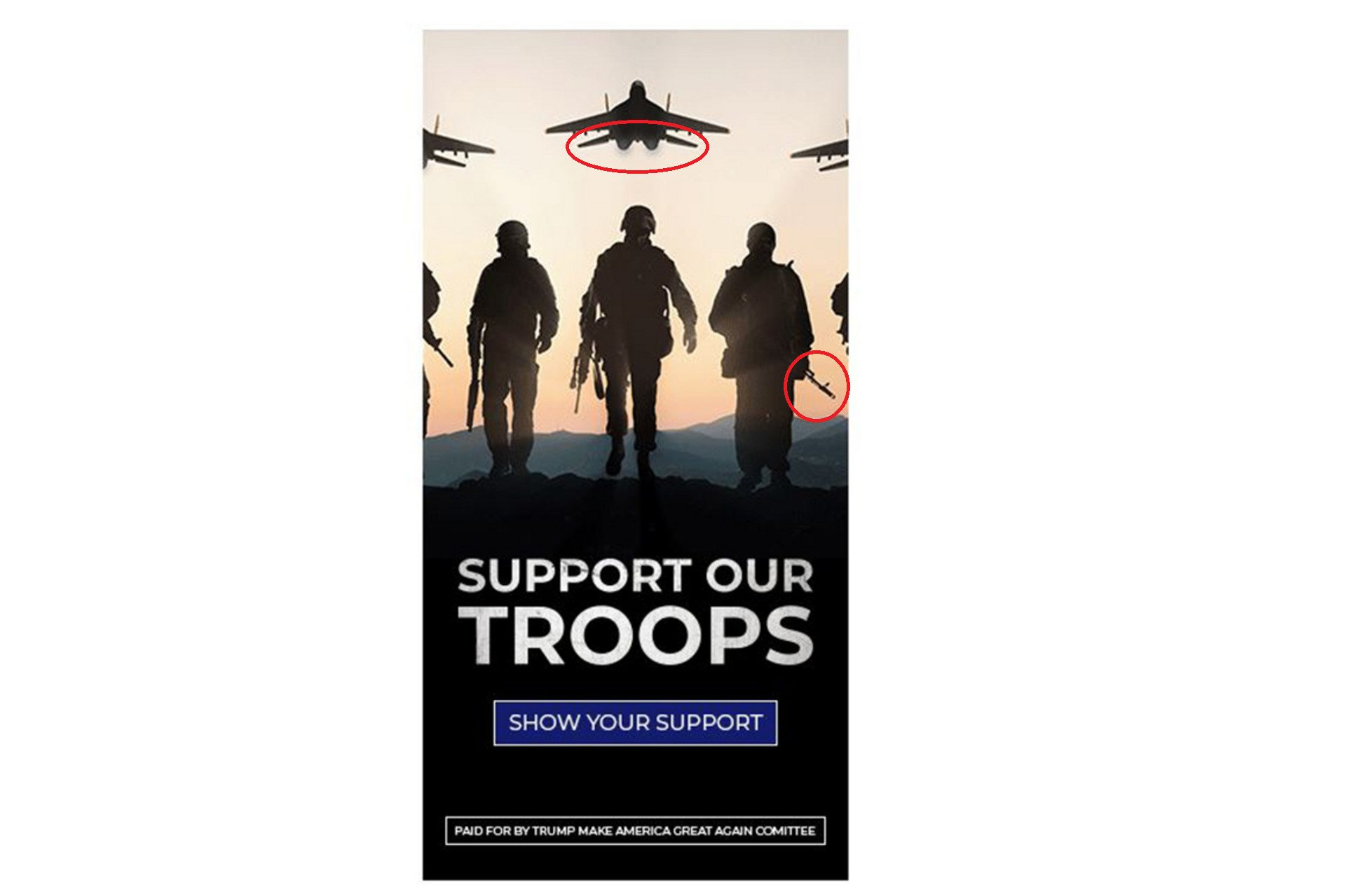 Trump Campaign Uses Poster Featuring Russian MiG-29 And Models With AK-47s