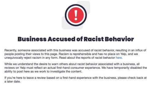 "Yelp Is Now Placing ""Business Accused Of Racist Behavior"" Alerts On Company Pages"
