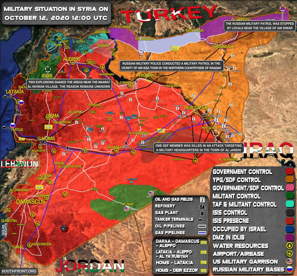 Military Situation In Syria On October 12, 2020 (Map Update)