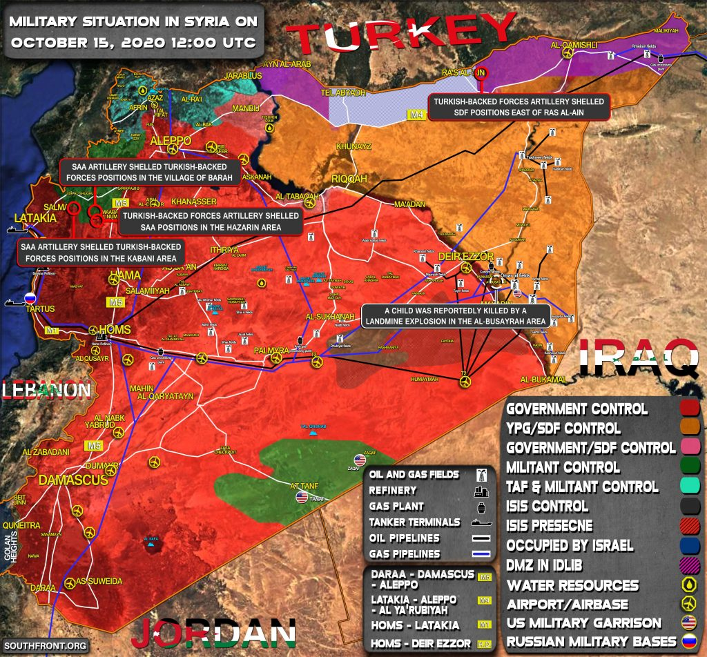 Military Situation In Syria On October 15, 2020 (Map Update)