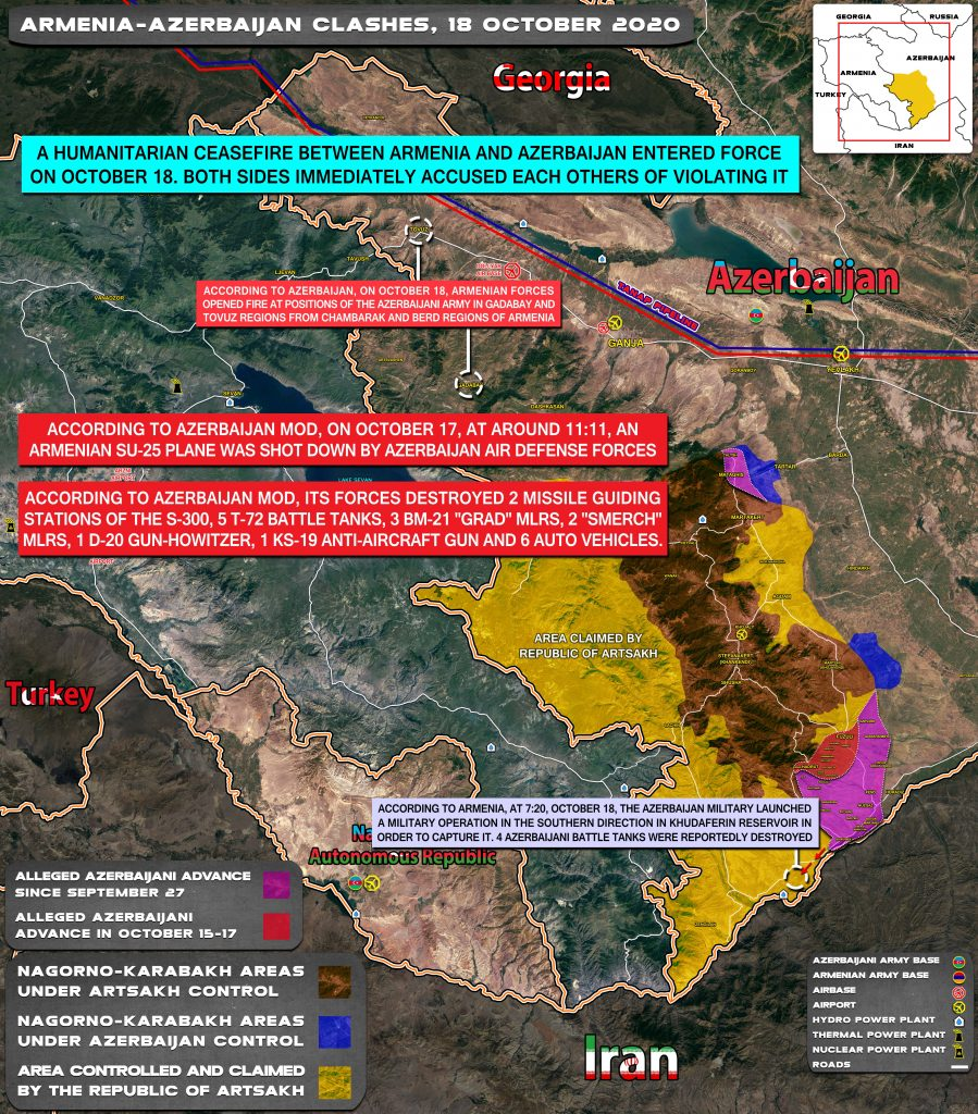 Azerbaijan Continues Its Advance On Armenian Positions In Karabah Despite Second Humanitarian Ceasefire (Map Update)