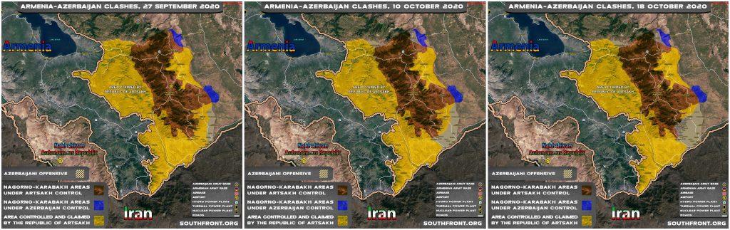 Map Comparison: Progress Of Azerbaijani Advance In Nagorno-Karabakh Through 2 Ceasefires