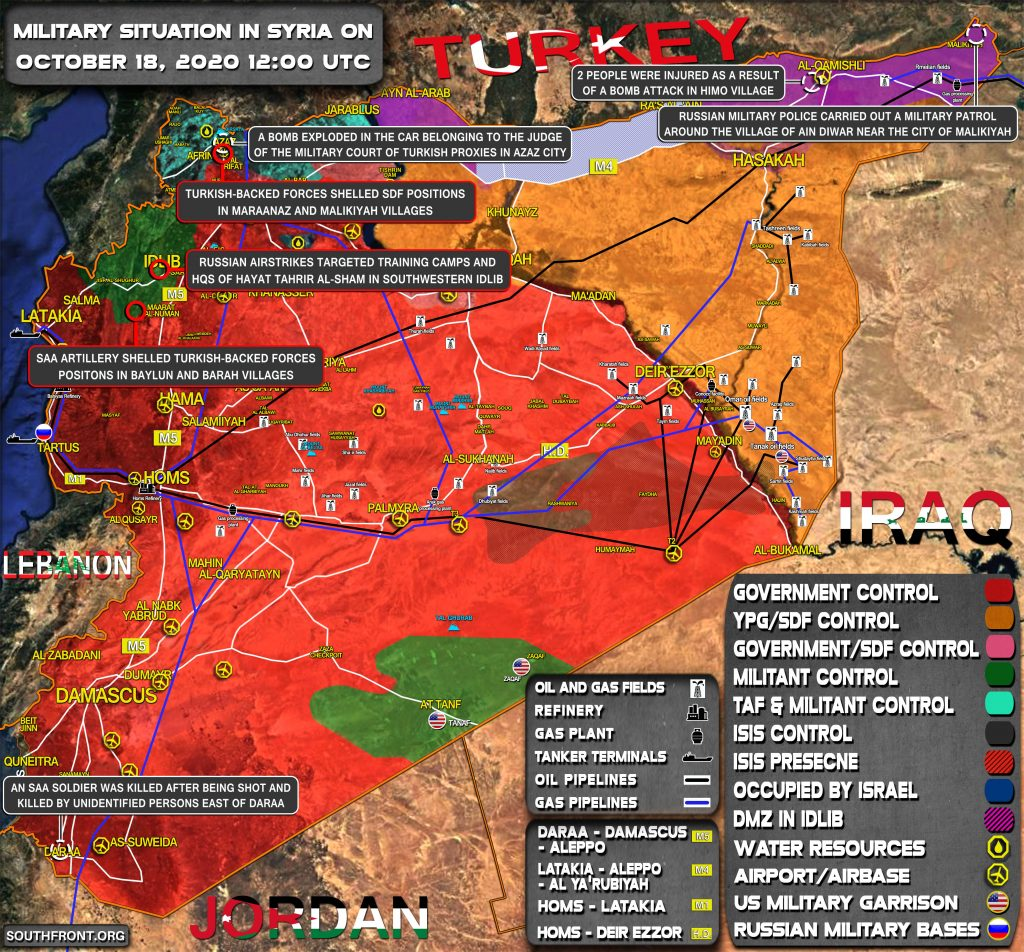 Military Situation In Syria On October 18, 2020 (Map Update)