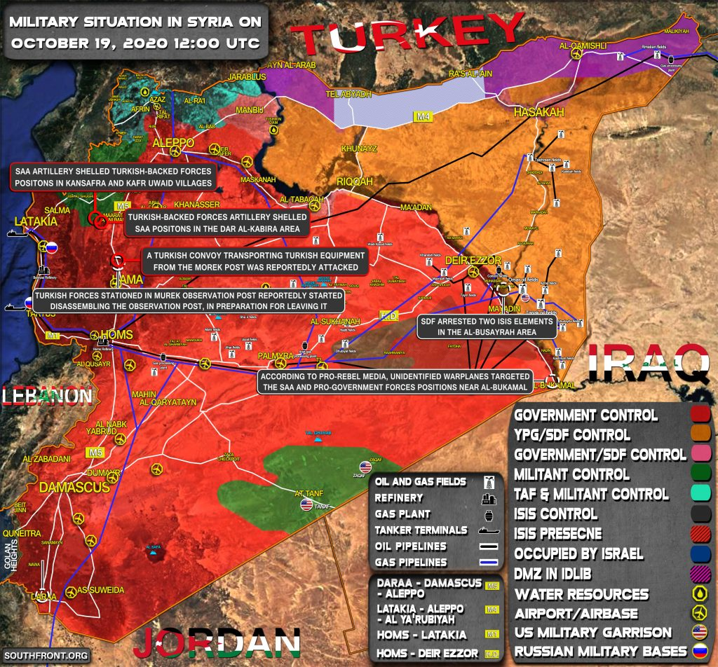 Military Situation In Syria On October 19, 2020 (Map Update)
