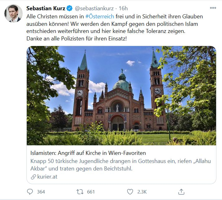 European Church-Hunt Continues: Another Attack In French Lyon, Pogrom In Vienna