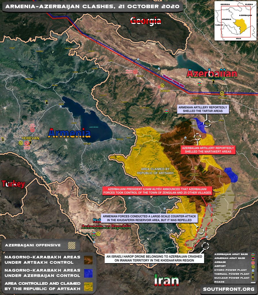 Military Situation In Nagorno-Karabakh Region On October 21, 2020 (Map Update)