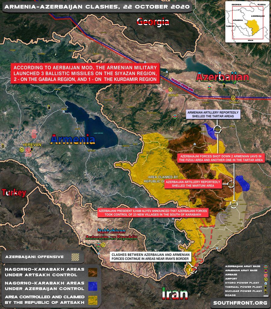 Azerbaijani-Armenian War Map: Military Situation In Nagorno-Karabakh Region On October 22, 2020