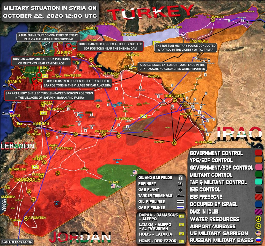 Military Situation In Syria On October 22, 2020 (Map Update)