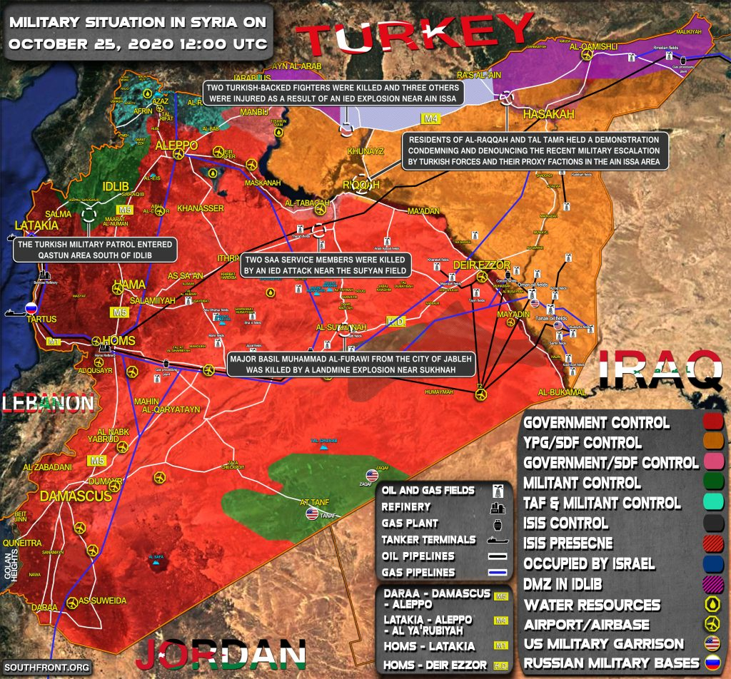 Military Situation In Syria On October 25, 2020 (Map Update)