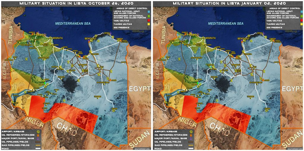 Map Comparison: Ceasefire Deal In Libya As Result Of Failure Of Turkish Push On Sirte