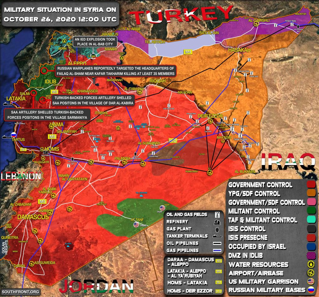 Military Situation In Syria On October 26, 2020 (Map Update)