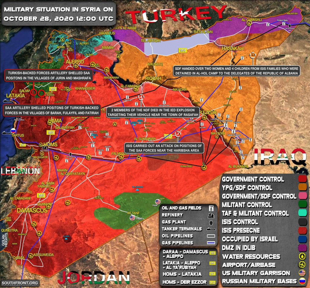 Military Situation In Syria On October 28, 2020 (Map Update)