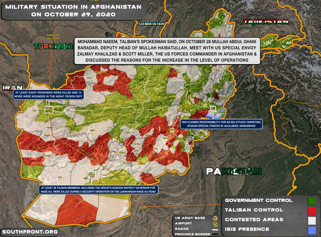 Military Situation In Afghanistan On October 29, 2020 (Map Update)
