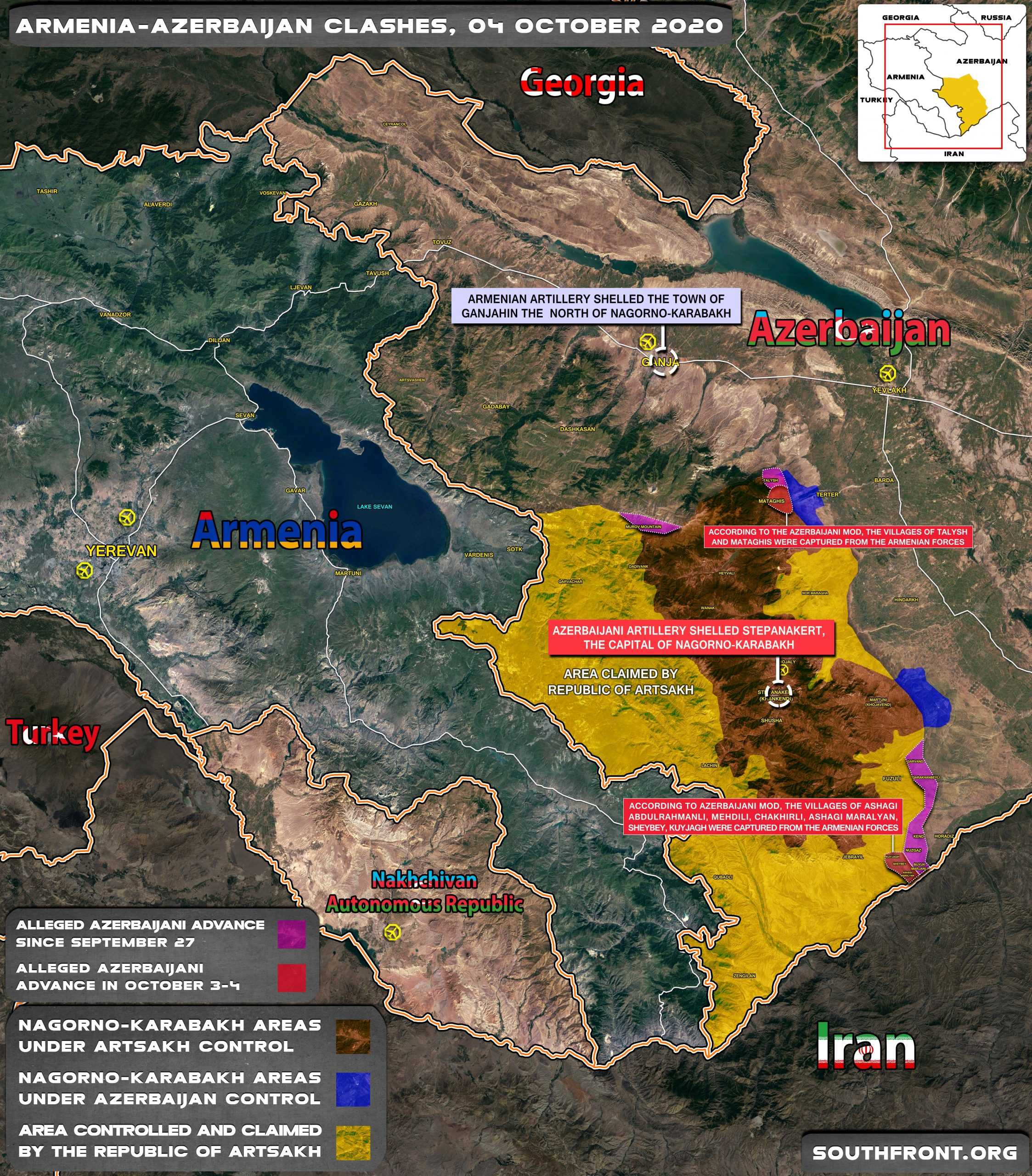 Alleged Azerbaijani Advance In Nagorno Karabakh On October 4 Map Update