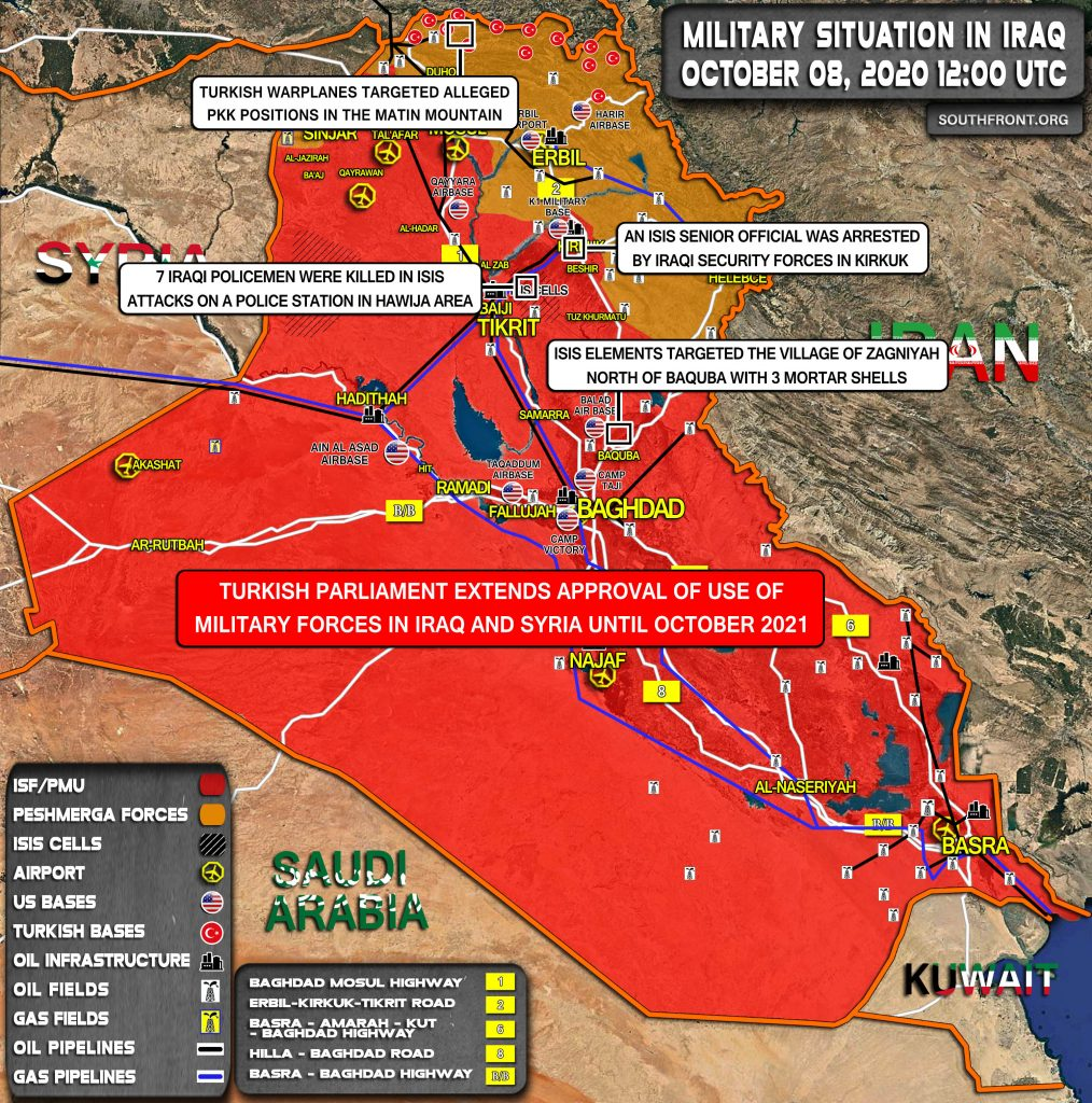 Military Situation In Iraq On October 8, 2020 (Map Update)