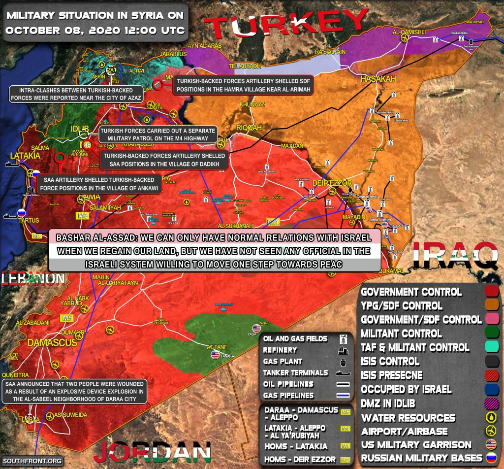 Military Situation In Syria On October 8, 2020 (Map Update)