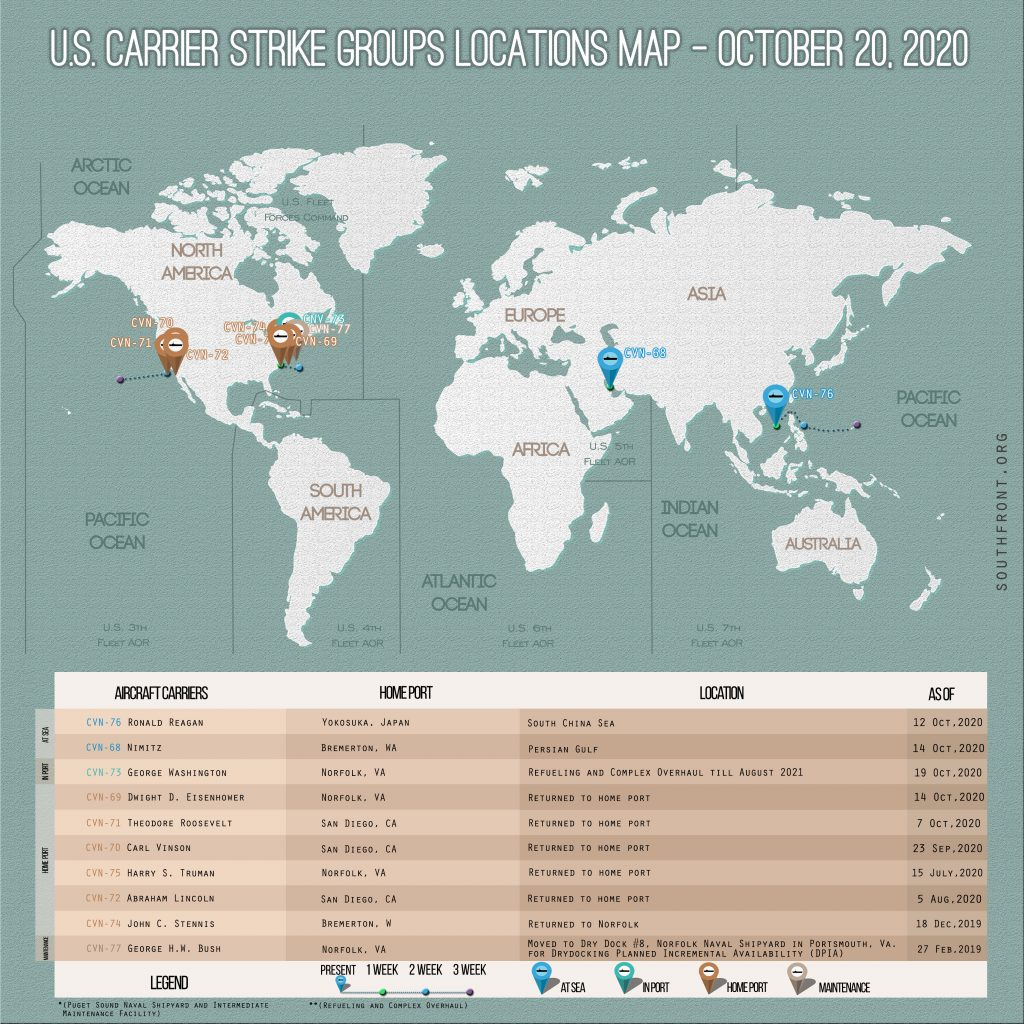 Locations Of US Carrier Strike Groups – October 20, 2020