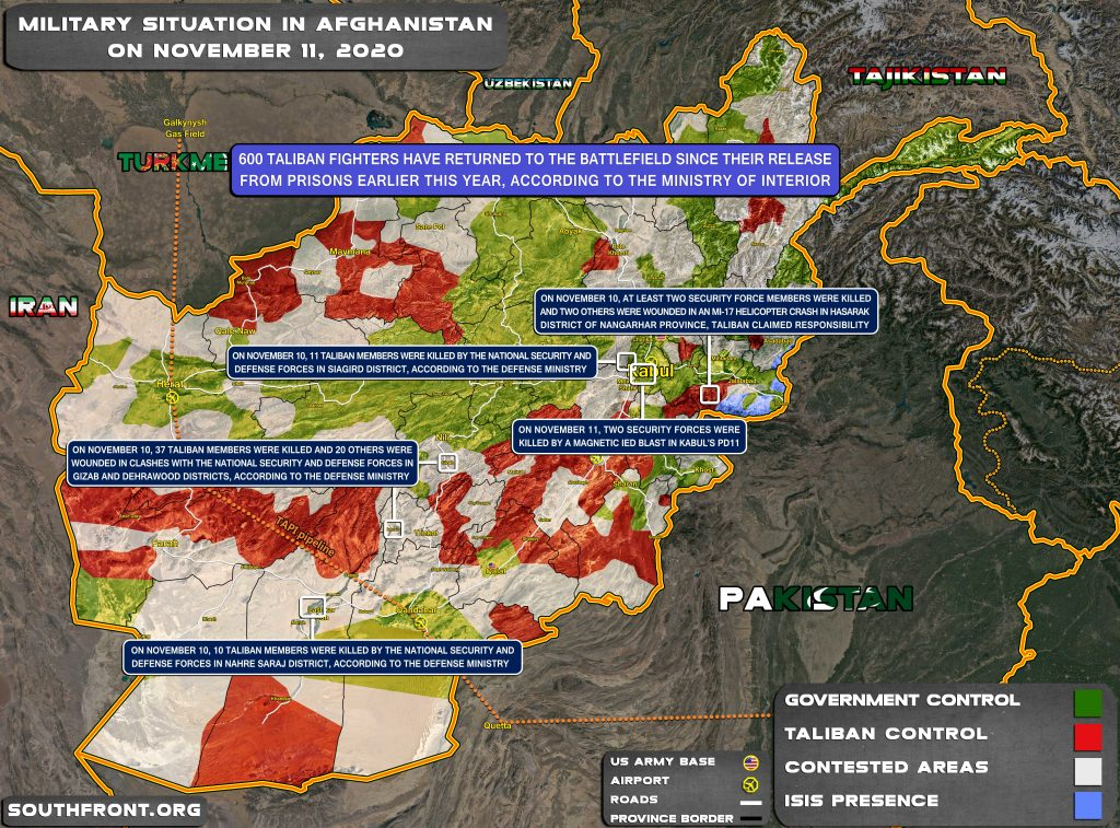 Military Situation In Afghanistan On November 11, 2020 (Map Update)