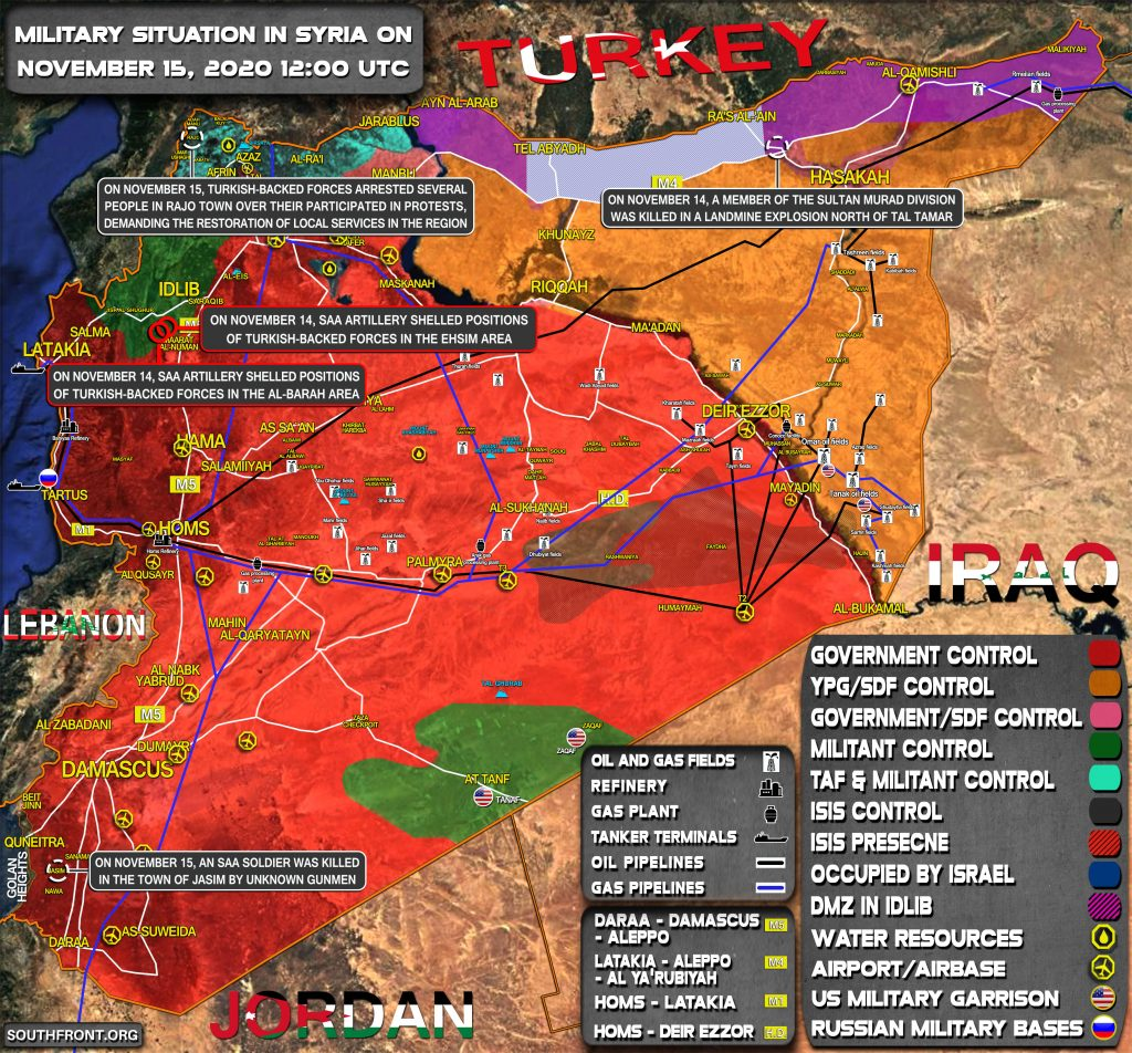 Military Situation In Syria On November 15, 2020 (Map Update)