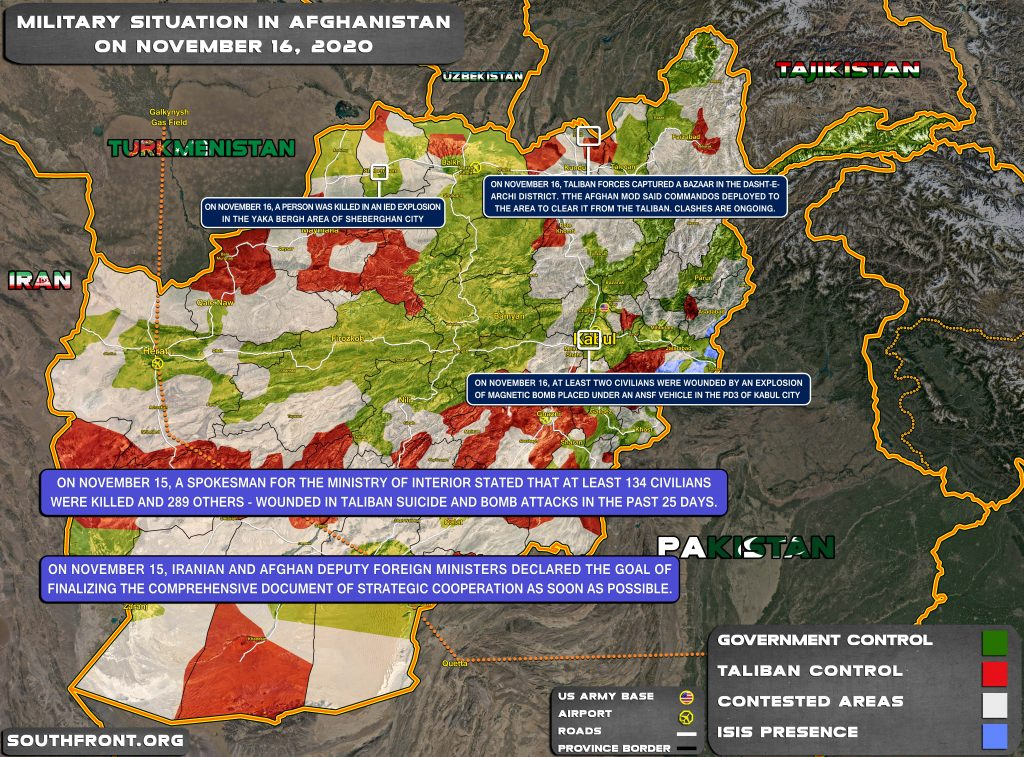 Military Situation In Afghanistan On November 16, 2020 (Map Update)