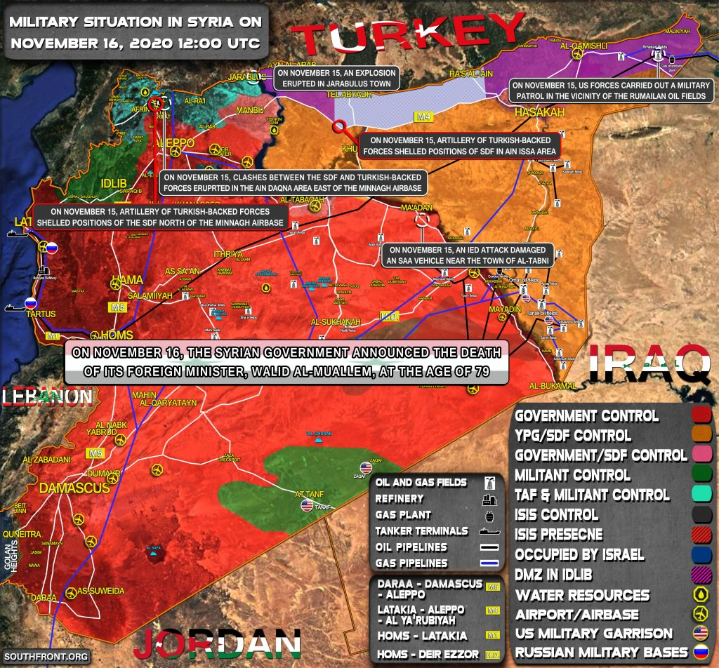 Military Situation In Syria On November 16, 2020 (Map Update)