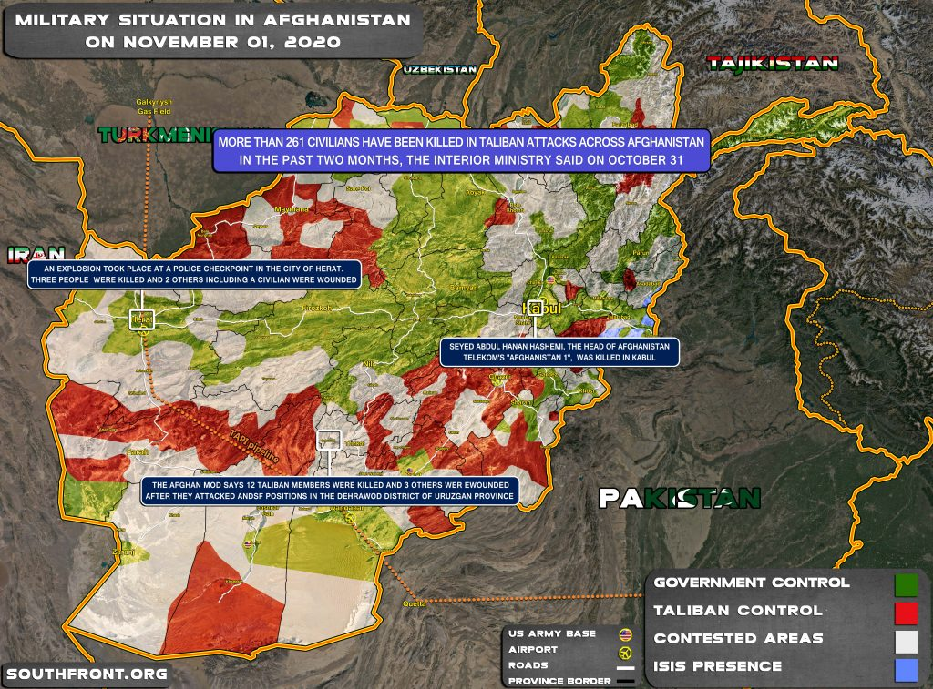 Military Situation In Afghanistan On November 1, 2020 (Map Update)