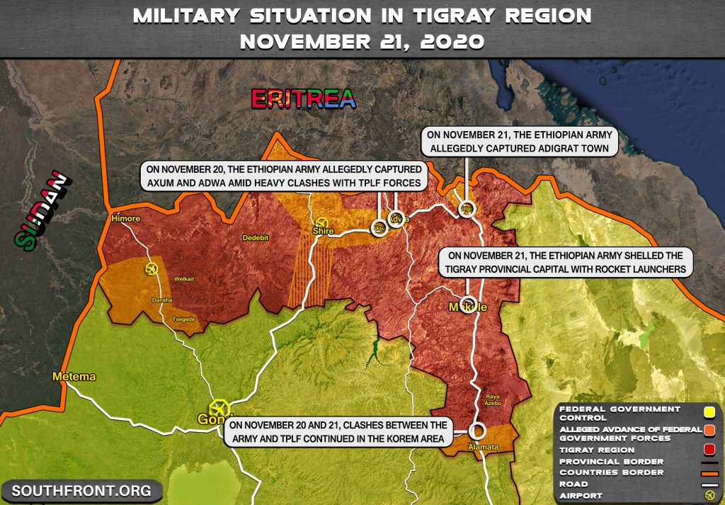 Ethiopian Military Develops Its Advance On Capital Of Tigray Province Amid Heavy Clashes With Local Forces (Map Update)