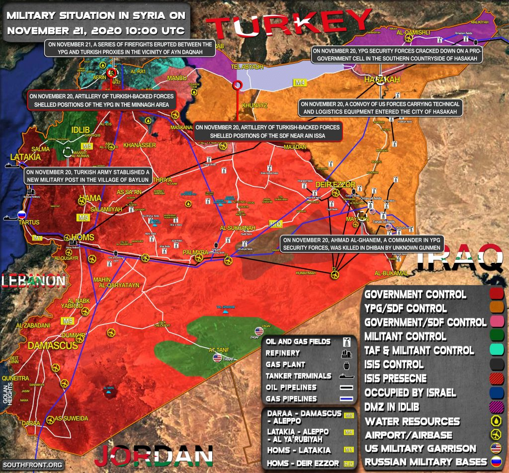 Military Situation In Syria On November 21, 2020 (Map Update)