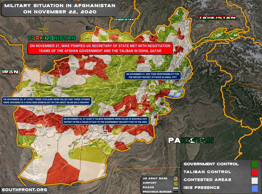 Military Situation In Afghanistan On November 22, 2020 (Map Update)