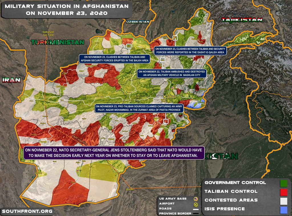Military Situation In Afghanistan On November 23, 2020 (Map Update)