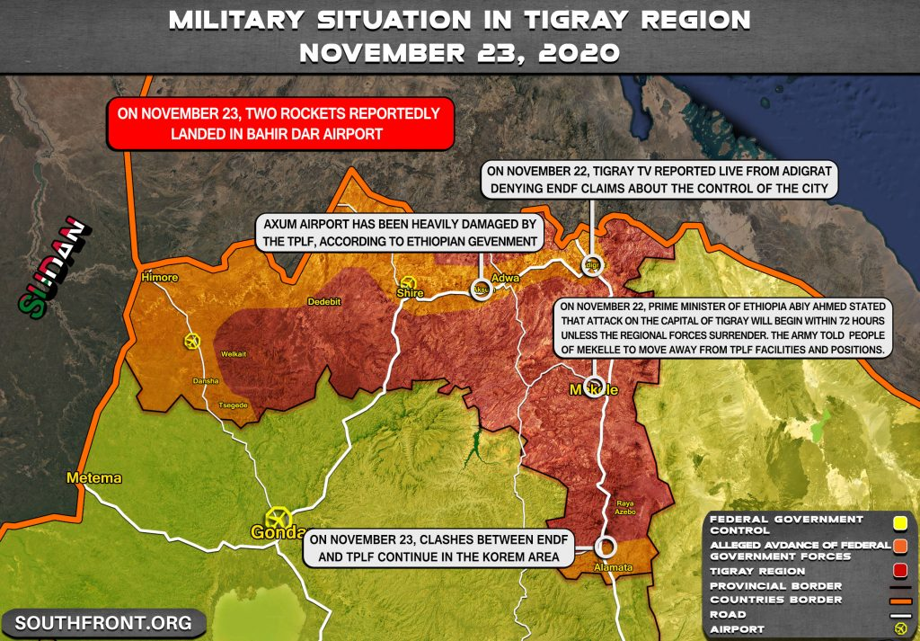 Map Update: Federal Government's Ultimatum To Tigray Rebels Nears Its Deadline