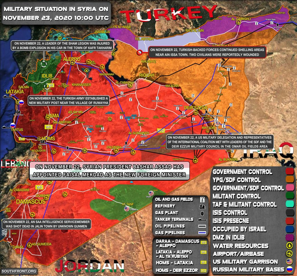 Military Situation In Syria On November 23, 2020 (Map Update)