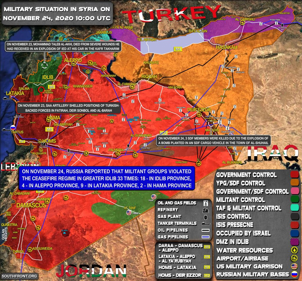 Military Situation In Syria On November 24, 2020 (Map Update)