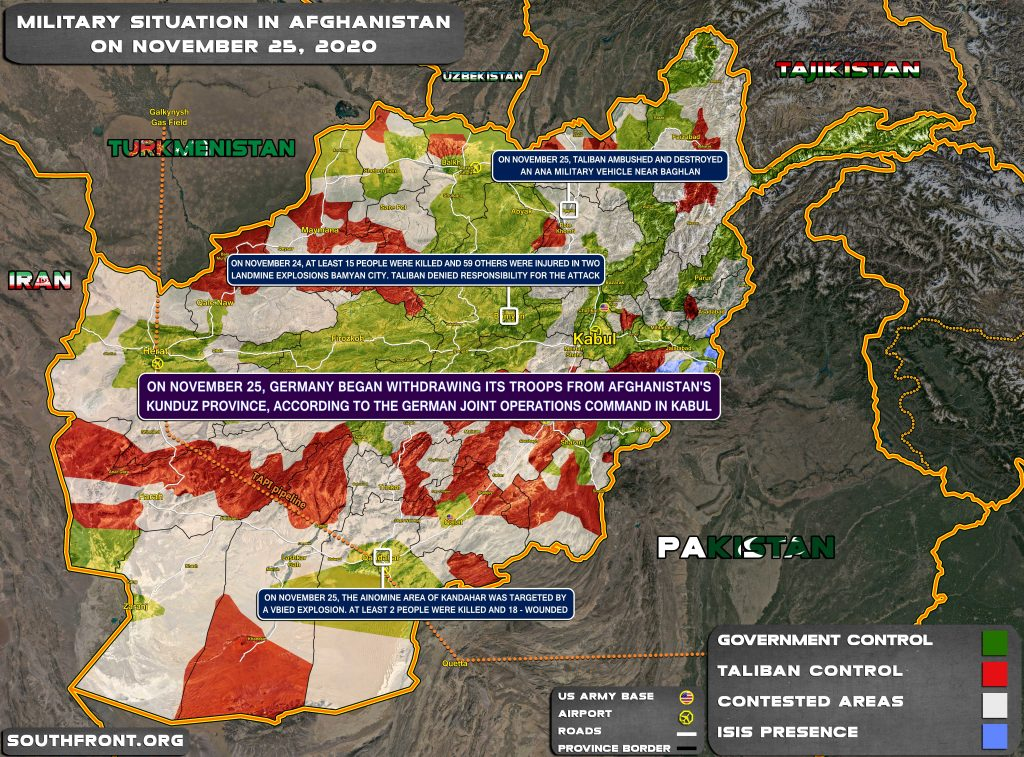 Military Situation In Afghanistan On November 25, 2020 (Map Update)