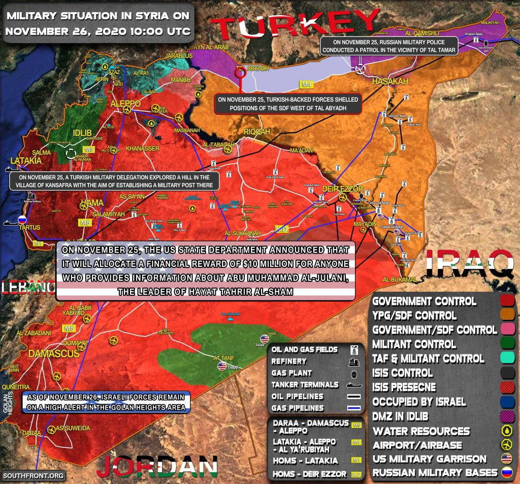 Military Situation In Syria On November 26, 2020 (Map Update)