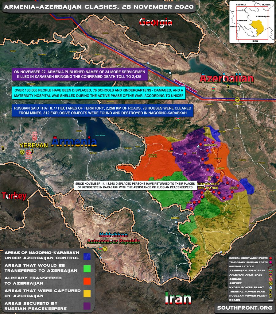 Map Update: Military Situation In Nagorno-Karabakh On November 28, 2020