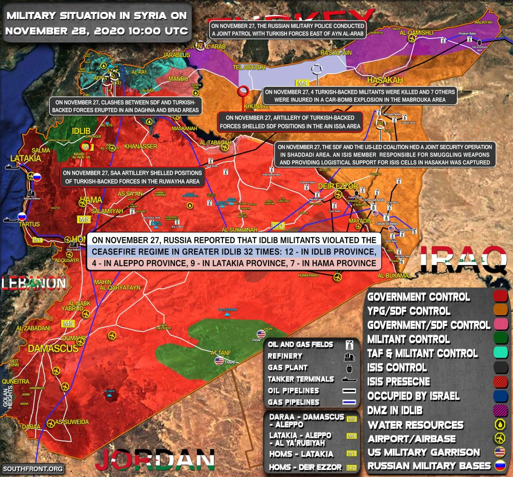 Military Situation In Syria On November 28, 2020 (Map Update)