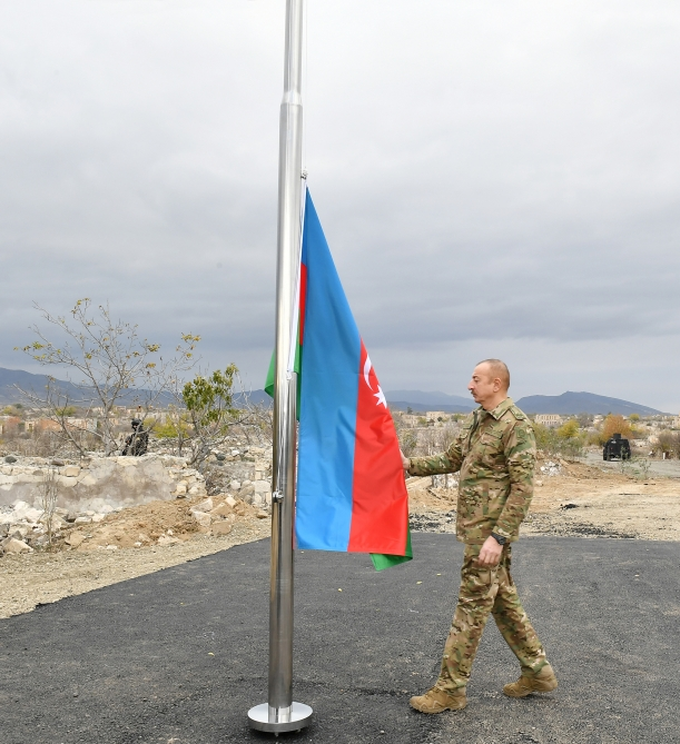 """Russian Peacekeepers Clear Out Mines, As Azerbaijan's President Visits """"Liberated Aghdam District"""""""