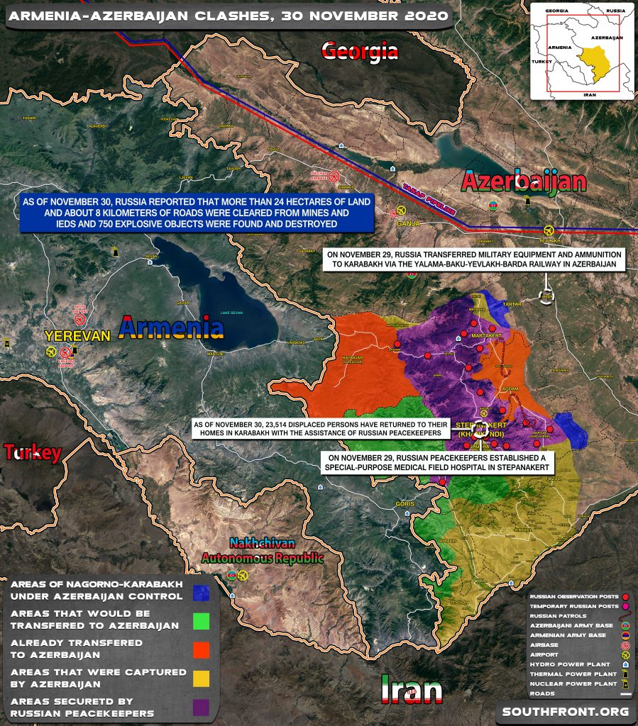 Map Update: Military Situation In Nagorno-Karabakh On November 30, 2020