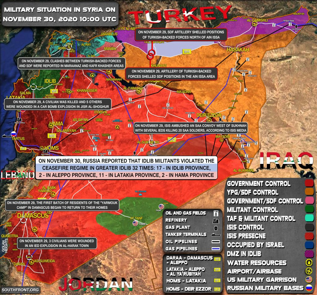 Military Situation In Syria On November 30, 2020 (Map Update)