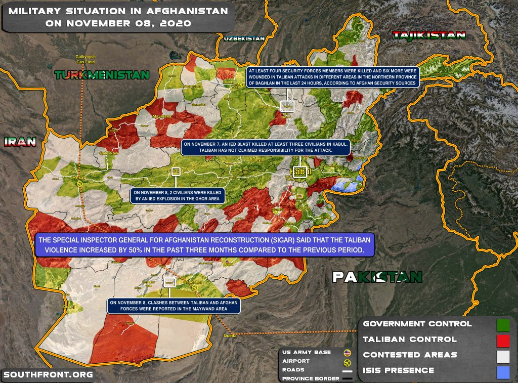 Military Situation In Afghanistan On November 8, 2020 (Map Update)