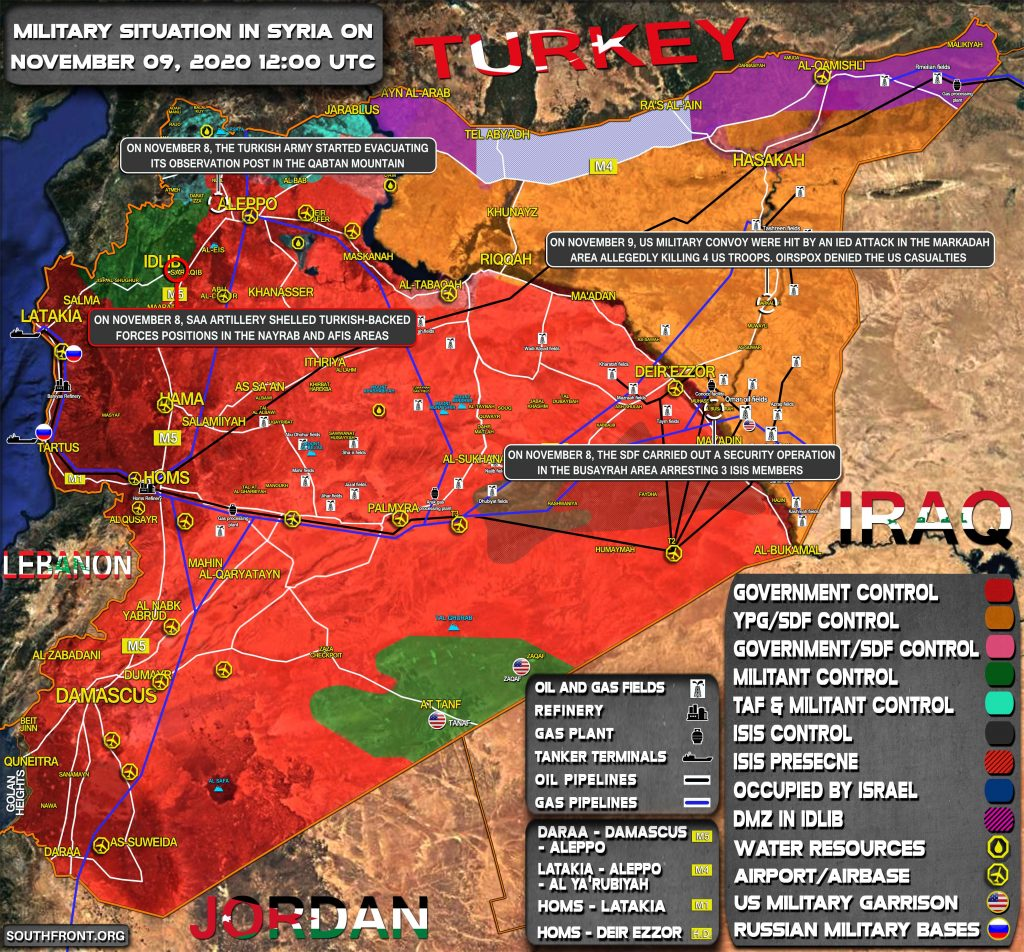 Military Situation In Syria On November 9, 2020 (Map Update)