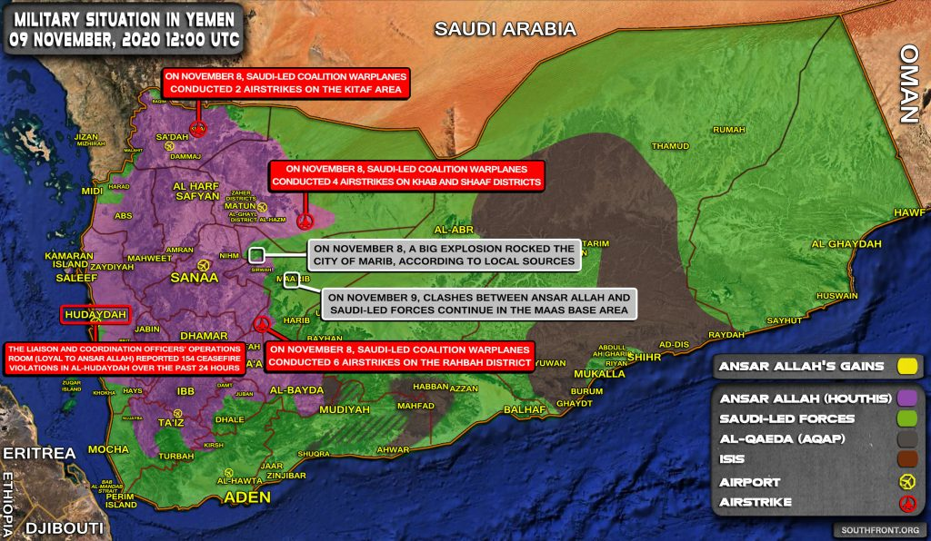 Military Situation In Yemen On November 9, 2020 (Map Update)